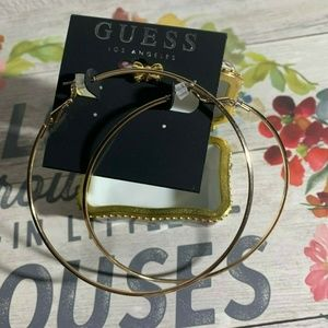 Guess Gold Polished Large Hoop Pierced Earrings